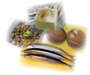 サンマや豆腐・シイタケ・納豆の写真